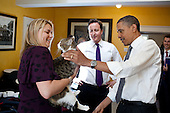 British Prime Minister David Cameron introduces President Barack Obama to Larry the cat at 10 Downing Street in London, England, May 25, 2011. .Mandatory Credit: Pete Souza - White House via CNP