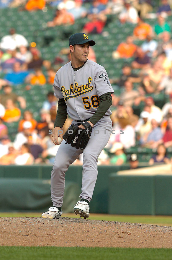 JUSTIN DUCHSCHERER, of the Oakland A's, in action during the A's game against the Baltimore Orioles in Baltimore Maryland on April 24, 2007...A's win 4-2...DAVID DUROCHIK / SPORTPICS..