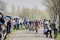 peloton over the Paddestraat cobbles<br /> <br /> 101th Ronde Van Vlaanderen 2017 (1.UWT)<br /> 1day race: Antwerp &rsaquo; Oudenaarde - BEL (260km)