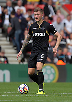Alfie Mawson of Swansea City in action during the Premier League match between Southampton and Swansea City at the St Mary's Stadium, Southampton, England, UK. Saturday 12 August 2017