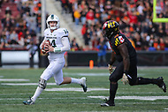 College Park, MD - November 3, 2018: Michigan State Spartans quarterback Brian Lewerke (14) attempts a pass  during the game between Michigan St. and Maryland at  Capital One Field at Maryland Stadium in College Park, MD.  (Photo by Elliott Brown/Media Images International)