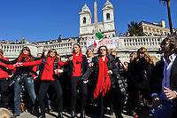 Roma 14 Febbraio 2013.One Billion Rising.Flash mob mondiale One Billion Rising, Hands off Women, contro la violenza sulle donne, a Trinità dei Monti.La Miss Italia Giusy Buscemi e Isabella Rauti