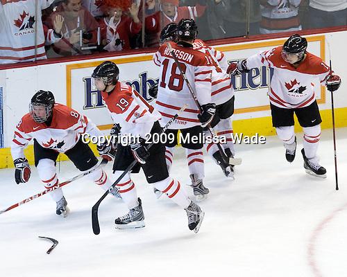 Ryan Ellis (Canada - 8), John Tavares (Canada - 19), Cody Hodgson (Canada - 18), Jordan Eberle (Canada - 14), Zach Boychuk (Canada - 11) - Canada defeated Russia 6-5 on Saturday, January 3, 2009, at Scotiabank Place in Kanata (Ottawa), Ontario during the 2009 World Junior Championship.