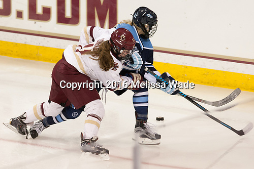 Caitrin Lonergan (BC - 11), Tereza Vanišová (Maine - 21) - The Boston College Eagles defeated the visiting University of Maine Black Bears 2-1 on Saturday, October 8, 2016, at Kelley Rink in Conte Forum in Chestnut Hill, Massachusetts.  The University of North Dakota Fighting Hawks celebrate their 2016 D1 national championship win on Saturday, April 9, 2016, at Amalie Arena in Tampa, Florida.