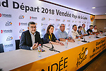 The headquarters of the 105th edition of the Tour de France are open in Mouilleron-le-Captif, the hometown of Thomas Voeckler in the outskirts of La Roche-sur-Yon, the prefecture of the Vend&eacute;e province were officially opened by Tour Director Christian Prudhomme ASO, Christelle Morancais Presidente du Conseil Regional Pays de la Loire and Yves Auvinet President du Conseil Regional de Vendee. 4th July 2018. <br /> Picture: ASO/Pauline Ballet   Cyclefile<br /> All photos usage must carry mandatory copyright credit (&copy; Cyclefile   ASO/Pauline Ballet)