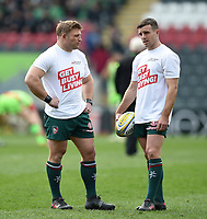 Tom Youngs and George Ford of Leicester Tigers look on during the pre-match warm-up. Aviva Premiership match, between Leicester Tigers and Northampton Saints on April 14, 2018 at Welford Road in Leicester, England. Photo by: Patrick Khachfe / JMP