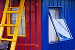 Colorful boat house, windows at Port Townsend, Washington