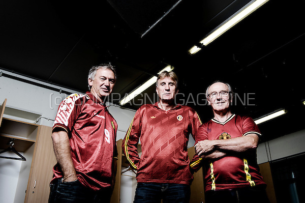 Former Belgian football players and Red Devils Marc Degryse, Jan Ceulemans and Wilfried Van Moer inside the national King Baudouin stadium in Brussels (Belgium, 12/09/2013)