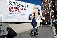 Roma 6 Maggio 2016<br /> Cartellone elettorale.<br /> Presentazione delle liste a sostegno di Giorgia Meloni a Sindaca di Roma<br /> ROME, ITALY - May 06: <br />  Electoral billboard.<br /> Presentation of the lists in support of Giorgia Meloni to mayor of Rome at the headquarters of the electoral campaign.<br /> on May 6, 2016 in Rome, Italy.