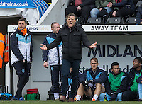 Wycombe Wanderers Manager Gareth Ainsworth complains the the officials during the Sky Bet League 2 match between Notts County and Wycombe Wanderers at Meadow Lane, Nottingham, England on 28 March 2016. Photo by Andy Rowland.