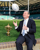 England Rugby 2015 Chairman Andy Cosslett with the Webb Ellis Trophy and Gilbert match ball during the Rugby World Cup 2015 Venues and Match Schedule Launch at Twickenham Stadium on Thursday 2nd May 2013 (Photo by Rob Munro)