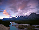 Jasper National Park, Alberta, Canada<br /> Morning clouds over Mount Christie and the Athabasca River Valley