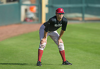 Hawgs Illustrated/BEN GOFF <br /> Carson Shaddy, senior infielder, coaches gray team Wednesday, Oct. 11, 2017, during the Arkansas baseball Fall World Series scrimmage at Baum Stadium in Fayetteville.