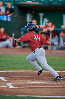 Rubendy Jaquez (49) of the Idaho Falls Chukars runs to first base during a game against the Ogden Raptors at Lindquist Field on August 29, 2018 in Ogden, Utah. Idaho Falls defeated Ogden 15-6. (Stephen Smith/Four Seam Images)