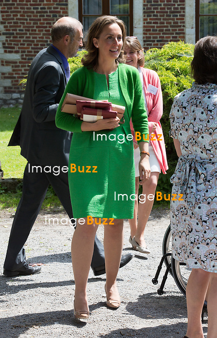 Princess Claire of Belgium attends the first communion of twin princes Nicolas and Aymeric of Belgium, at the Sainte-Catherine church, in Bonlez, Belgium.<br /> 29 May 2014.