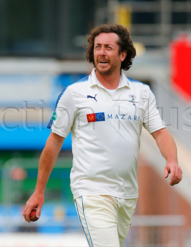 May 21st 2017, Emirates Old Trafford, Manchester, England; Specsavers County Championship Division One; Day Three; Lancashire versus Yorkshire; Ryan Sidebottom of Yorkshire bowls during the afternoon session