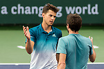 March 11, 2019: Dominic Thiem (AUT) and Gilles Simon (FRA) meet at the net after their match. Thiem defeated Simon 6-3, 6-1 at the BNP Paribas Open at the Indian Wells Tennis Garden in Indian Wells, California. ©Mal Taam/TennisClix/CSM