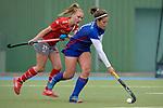 GER - Mannheim, Germany, April 22: During the German Hockey Bundesliga women match between Mannheimer HC (blue) and Club an der Alster (red) on April 22, 2017 at Am Neckarkanal in Mannheim, Germany. Final score 1-1 (HT 1-0).  +m11+<br /> <br /> Foto &copy; PIX-Sportfotos *** Foto ist honorarpflichtig! *** Auf Anfrage in hoeherer Qualitaet/Aufloesung. Belegexemplar erbeten. Veroeffentlichung ausschliesslich fuer journalistisch-publizistische Zwecke. For editorial use only.