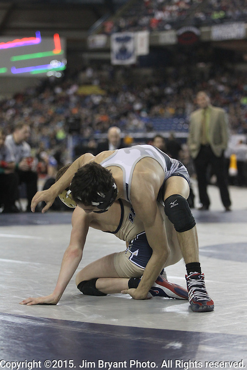 Union's Ethan Rotondo takes down Meads' Chase Tebbets in their 106 pound match on Saturday, February 19, 2016 at the Mat Classic XXVIII Championship matches held in the Tacoma Dome. Rotondo went on to take the championship with a 9-5 win. (Jim Bryant Photo)