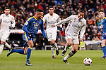 Real Madrid's Danilo Luiz Da Silva and Celta de Vigo's Theo Bongonda during Copa del Rey match between Real Madrid and Celta de Vigo at Santiago Bernabeu Stadium in Madrid, Spain. January 18, 2017. (ALTERPHOTOS/BorjaB.Hojas)