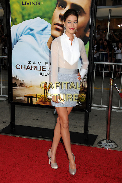 "AMANDA CREW.""Charlie St. Cloud"" Los Angeles Premiere held at the Regency Village Theatre, Westwood, California, USA, 20th July 2010. .full length white shirt sheer see thru through hand on hip blouse skirt blue clutch bag beige gold silk satin shoes .CAP/ADM/BP.©Byron Purvis/AdMedia/Capital Pictures."