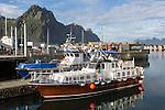 Boats in harbour at Svolvaer, Lofoten Islands, Nordland, Norway