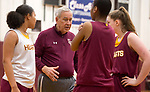 WATERBURY, CT-120618JS08-Sacred Heart head coach Ron Picard stalks with is players during practice Thursday at Alumni Hall. <br /> Jim Shannon Republican American