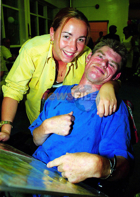 Helper Elaine Duke from Greenhills with Alan Hurst, Dublin at the Rehab Holiday '99 in Greenhills College.