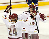 Bill Arnold (BC - 24), Kevin Hayes (BC - 12) - The Boston College Eagles defeated the visiting University of Massachusetts Lowell River Hawks 6-3 on Sunday, October 28, 2012, at Kelley Rink in Conte Forum in Chestnut Hill, Massachusetts.