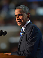 September 6, 2012  (Charlotte, North Carolina) President Barack Obama speaks before the 2012 Democratic National Convention In Charlotte.   (Photo by Don Baxter/Media Images International)