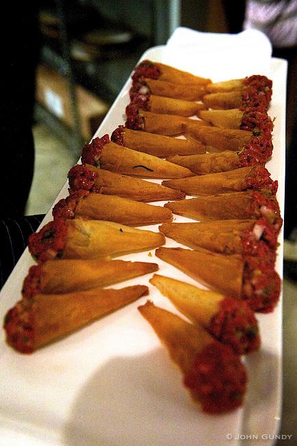 Chef Paul Boehmer, Bohmer..Cornets - Ontario Venison Tartar with Wild Leeks.