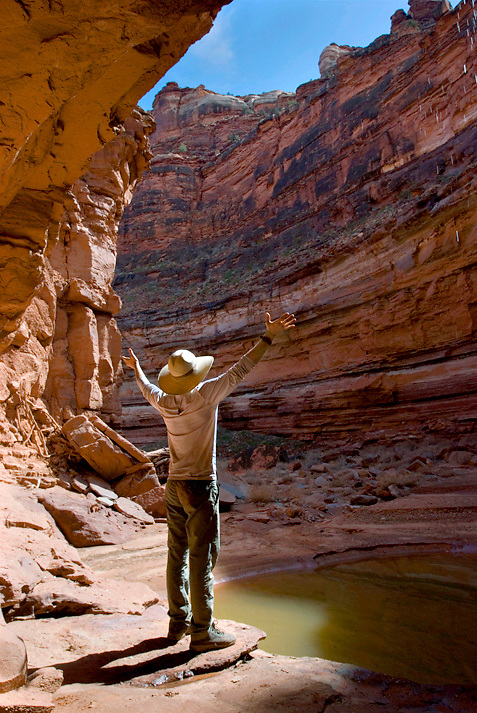 A hiker revels in the beauty of Horse Canyon. Canyonlands National Park, Utah.