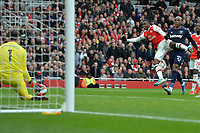 Lukasz Fabianski of West Ham United saves from Edward Nketiah of Arsenal FC during Arsenal vs West Ham United, Premier League Football at the Emirates Stadium on 7th March 2020