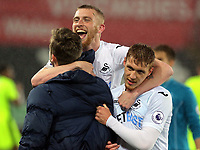 Pictured: (L-R) Oliver McBurnie and Jay Fulton of Swansea City celebrate their win after the game Monday 15 May 2017<br />