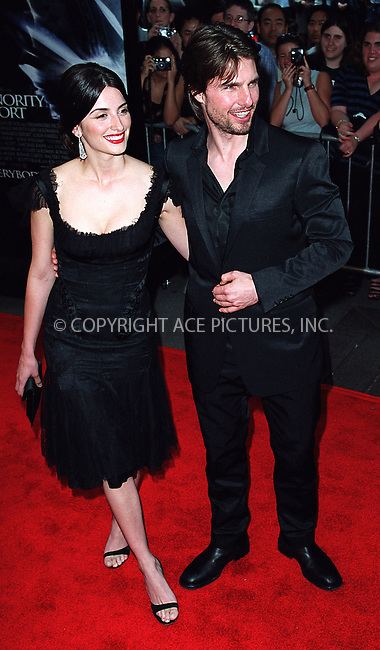 "Tom Cruise and Penelope Cruz attend the world premiere of ""Minority Report"" in New York. June 17, 2002. Please byline: Alecsey Boldeskul/NY Photo Press.   ..*PAY-PER-USE*      ....NY Photo Press:  ..phone (646) 267-6913;   ..e-mail: info@nyphotopress.com"