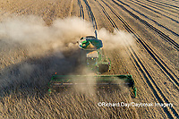 63801-13219 Harvesting soybeans in fall-aerial Marion Co. IL