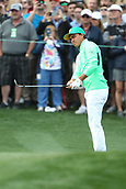 February 2nd 2019, Scottsdale, Arizona, USA; Rickie Fowler watches the flight of his shot on the second hole during the third round of the Waste Management Phoenix Open on February 02, 2019, at TPC Scottsdale in Scottsdale, AZ.