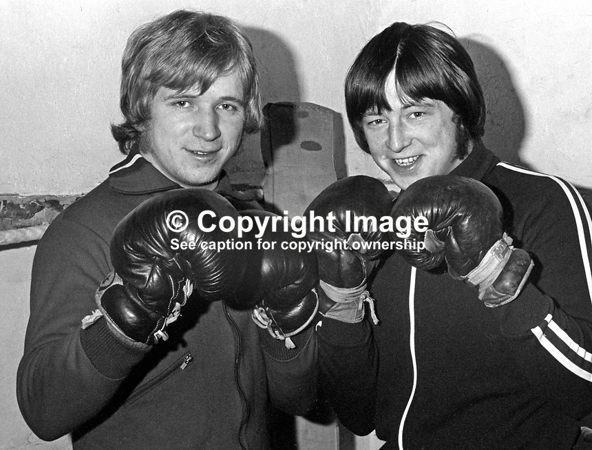 Terry Young, left, and Gerry Young, amateur boxers, N Ireland, January, 1974. 197401160020<br /> <br /> Copyright Image from Victor Patterson, 54 Dorchester Park, Belfast, UK, BT9 6RJ<br /> <br /> Tel: +44 28 9066 1296<br /> Mob: +44 7802 353836<br /> Voicemail +44 20 8816 7153<br /> Email: victorpatterson@me.com<br /> Email: victorpatterson@gmail.com<br /> <br /> IMPORTANT: My Terms and Conditions of Business are at www.victorpatterson.com