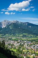 Austria, Styria, Admont: with Admont Abbey and the Haller Mauern mountains of Ennstal Alps | Oesterreich, Steiermark, Admont: mit Stift Admont vor Haller Mauern, einer kleinen Gebirgskette der Ennstaler Alpen