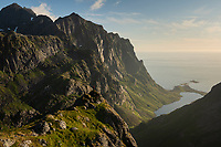 View over Isolated valley on the Yttersia of Moskenesøy, Lofoten Islands, Norway