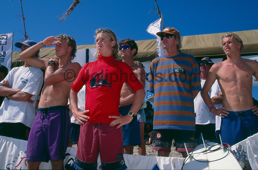 Kuta Beach, Bali, Indonesia. Team Australia attending the Quiksilver Grommet contest in 1995. Zane Harrison (AUS), Nathan Hedge (AUS), Lee Winkler (AUS), Mark Warren (AUS), Australian Team Coach Wayne 'Rabbit' Bartholomew (AUS) and Dane Beaver (AUS).  .Photo: joliphotos.com