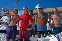 Kuta Beach, Bali, Indonesia. Team Australia attending the Quiksilver Grommet contest in 1995. Zane Harrison (AUS), Nathan Hedge (AUS), Lee Winkler (AUS), Mark Warren (AUS), Australian Team Coach Wayne 'Rabbit' Bartholomew (AUS) and Dane Beaver (AUS).  .Photo: joliphotos.com