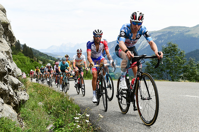 Polka Dot Jersey David de la Cruz (ESP) UAE Team Emirates, Thibaut Pinot (FRA) Groupama-FDJ, Tadej Pogacar (SLO) UAE and the rest of the chase group on the Col de la Colombière during Stage 5 of Criterium du Dauphine 2020, running 153.5km from Megeve to Megeve, France. 16th August 2020.<br /> Picture: ASO/Alex Broadway | Cyclefile<br /> All photos usage must carry mandatory copyright credit (© Cyclefile | ASO/Alex Broadway)