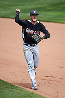 New Britain Rock Cats shortstop Trevor Story (4) during a run down during a game against the Akron RubberDucks on May 21, 2015 at Canal Park in Akron, Ohio.  Akron defeated New Britain 4-2.  (Mike Janes/Four Seam Images)