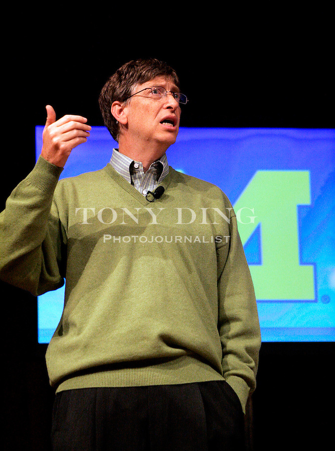 Microsoft Chairman Bill Gates speaks at the University of Michigan on Wednesday, Oct. 12, 2005 in Ann Arbor, Mich. Gates is on a three-day national college tour to talk to students about the excitement and rewards of careers in computer science. (AP Photo/Tony Ding)