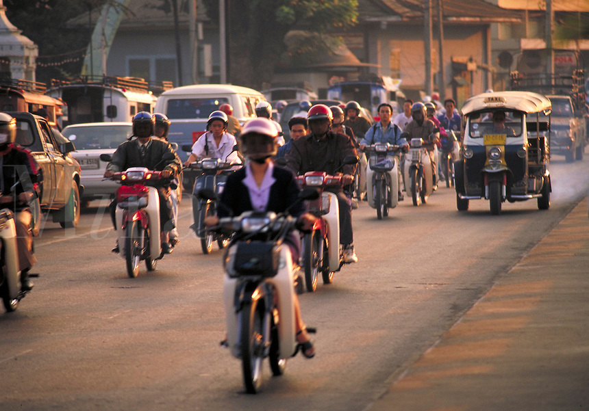 Scooter traffic in Chiag Mai, Thailand. Chiang Mai, Thailand.
