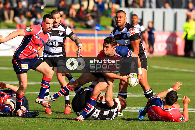 Billy Guyton in the Tasman Makos vs Hawkes Bay Magpies ITM Cup rugby match held at Lansdowne Park, Blenheim 17th August 2014. Photo Gavin Hadfield / Shuttersport