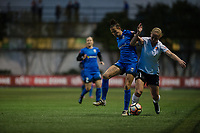 Seattle, WA - April 15th, 2017: Carson Pickett, Leah Galton during a regular season National Women's Soccer League (NWSL) match between the Seattle Reign FC and Sky Blue FC at Memorial Stadium.