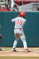 Evan Edwards (18) of the North Carolina State Wolfpack at bat against the Northeastern Huskies at Doak Field at Dail Park on June 2, 2018 in Raleigh, North Carolina. The Wolfpack defeated the Huskies 9-2. (Brian Westerholt/Four Seam Images)