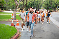 Incoming Occidental College first-year students explore Los Angeles as part of OxyEngage, Aug. 21-22, 2018.<br /> OxyEngage is a pre-orientation program that introduces incoming students to the vibrant city of Los Angeles. Over two days, upperclassmen facilitators lead trips to experience culture, film, food, nature, social justice, the urban environment, and much more! On an OxyEngage trip you will make fast friends, get to know your surrounding area, and find some stunning places you will want to return to time and time again.<br /> (Photo by Marc Campos, Occidental College Photographer)